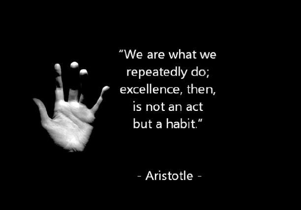 picture of Aristotle quote We are what we repeatedly do, Excellence then is not an act but a habit